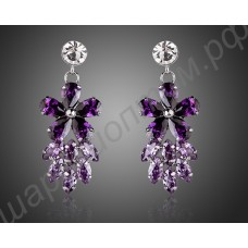 Замечательные фиолетовые серьги в виде цветочков