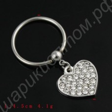 Кольцо для соска Ring Costume Crystal Piercing Alloy Heart