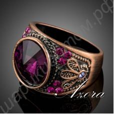 Очаровательное винтажное кольцо с крупным фиолетово-розовым камнем и множеством белых и розовых камушков