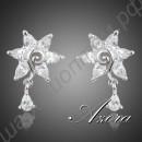 Изысканные серьги с белыми камнями в виде цветочка-звезды