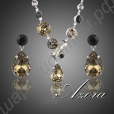 Эстетичный набор украшений (ожерелье и серьги) с тёмными камнями