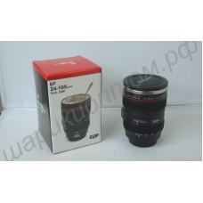 Кружка-термос в виде объектива фотоаппарата с металлическим стаканом внутри