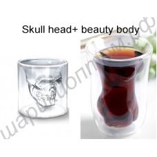 Оригинальные стаканы в виде черепа внутри и голого тела девушки