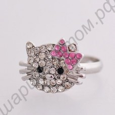 Кольцо lovely crystal bow cat ring