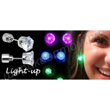 Светящиеся серьги-гвоздики LED (пусеты со светодиодами)