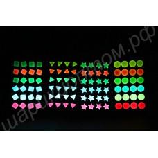 Флуоресцентные (светящиеся в темноте) серьги, 1 пара