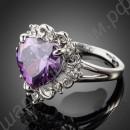 Кольцо сердце пурпурное, покрытое платиной