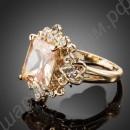 Кольцо позолоченное с огромным жёлтым австрийским кристаллом