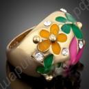 Кольцо позолоченное с разрисованными эмалью цветами и фианитами