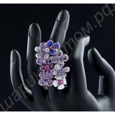 Феноменально красивое кольцо с цветами, стрекозками, усыпанными фианитами, с платиновым покрытием