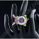 Кольцо колибри на цветке, с платиновым покрытием