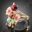 Позолоченное кольцо с цветами и божьей коровкой