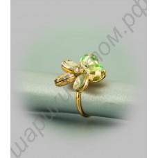 Кольцо-цветок позолоченное с крупными фианитами