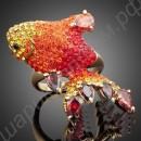 Кольцо позолоченное с разноцветными фианитами в форме милой рыбки