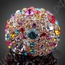 Кольцо позолоченное со множеством разноцветных австрийских кристаллов