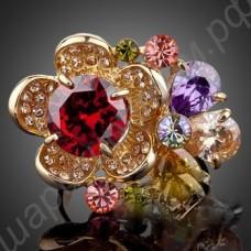 Кольцо с цветами из разноцветных фианитов, позолоченное