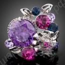 Кольцо с платиновым покрытием, с крупным фиолетовым австрийским кристаллом и цветком