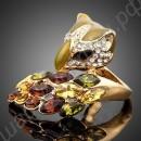 Кольцо в виде лисы с хвостом, усыпанное разноцветными фианитами, позолоченное