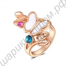 Кольцо 18K Rose Gold Plate Double Color Butterfly Diamond Ring