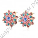 Серьги Colorful Eight Petals Flowers Stud Earrings Austrian Crystal Fashion Jewelry