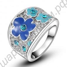 Кольцо Fashion Elegant 18K Real Gold Plated SWA ELEMENTS Austrian Crystal Blue Plum Blossom Flower