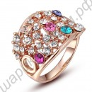 Кольцо Gorgeous 18K Rose Gold Plated Multicolour SWA Element Austrian Crystal