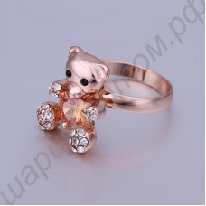 Кольцо Cute teddy bear ring mixed batch of imported Czech zircon jewelry 18 k rose gold
