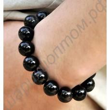Браслет с турмалиновыми чёрными кристаллами