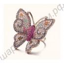 Шикарное покрытое золотом и усыпанное кристаллами кольцо в виде большой бабочки