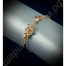 Браслет с жёлтыми круглыми кристаллами сваровски, покрытый золотом