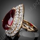 Кольцо с огромным красным камнем, усыпанным вокруг множеством мелких кристаллов сваровски, покрытое золотом