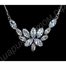 Свадебное циркониевое ожерелье с изысканным рисунком, покрытое платиной