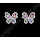 Серьги-бабочки, усыпанные разноцветными фианитами, покрытые белым золотом