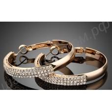 Серьги-кольца позолоченные с россыпью фианитов