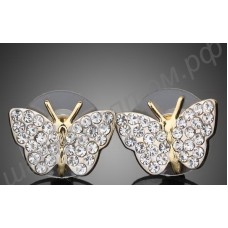 Серьги-бабочки позолоченные, усыпанные фианитами