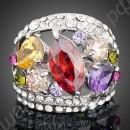 Кольцо в платиновом покрытии с разноцветными австрийскими кристаллами, усыпанное фианитами