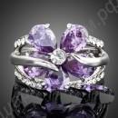 Пурпурное кольцо с большим австрийским кристаллом, покрытое платиной