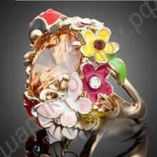 Кольцо позолоченное, с божьей коровкой и цветочками, крупными фианитами