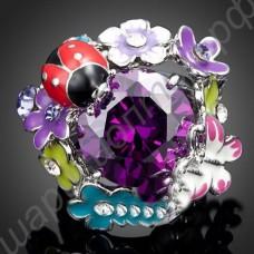 Кольцо с божьей коровкой и бабочкой, с крупным фиолетовым австрийским кристаллом, покрытое платиной