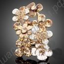 Большое модное позолоченное кольцо с цветами и стрекозами