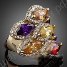 Кольцо позолоченное с крупными многоцветными фианитами