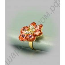 Кольцо-цветок с бабочкой из фианитов, позолоченное