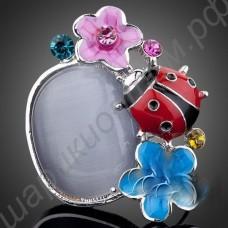 Кольцо с божьей коровкой и цветочками, платиновое покрытие