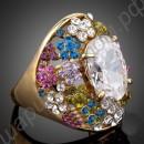 Кольцо с разноцветными фианитовыми дорожками и крупным прозрачным австрийским кристаллом, покрытое золотом
