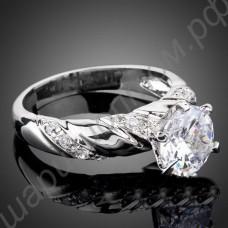 Кольцо с огромным фианитом а-ля бриллиант, покрытое белым золотом