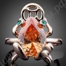 Кольцо позолоченное в виде лягушки с монеткой