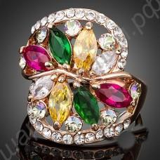 Кольцо с белыми, жёлтыми, зелёными, рубиновыми фианитами, покрытое золотом