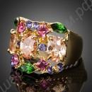 Кольцо квадратное позолоченное со множеством фианитов разных цветов