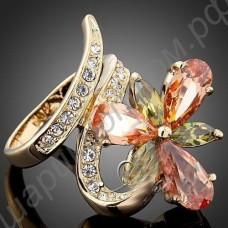 Кольцо с цветком из фианитов позолоченное