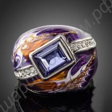 Кольцо с прямоугольным фиолетовым камнем, дорожкой из фианитов, покрытое платиной и эмалью